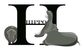 H-flodhäst stock illustrationer
