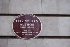 H g Wells подписывает внутри Лондон Стоковая Фотография RF