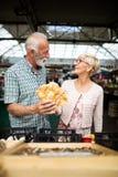 H?ga familjpar som v?ljer den bio matfrukt och gr?nsaken p? marknaden under veckoshopping royaltyfria foton