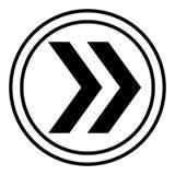 H?ger pil i cirkelvektorn linj?r illustrationvektorsymbol Linje med redigerbart slagl?ngdsymbol royaltyfri illustrationer