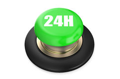 24h Green button. Isolated on white background Royalty Free Stock Photos