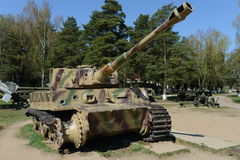 H1 heavy German tank Tiger in the open area of the memorial complex line of Glory Royalty Free Stock Image