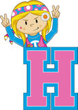 H is for Hippie Cartoon Character stock illustration