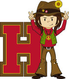 H is for Hippie Cartoon Character vector illustration
