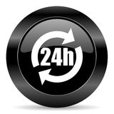 24h icon. Black circle web button on white background Royalty Free Stock Photos