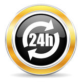24h icon. Black web button with golden ring Royalty Free Stock Photography