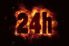 24h icon fire explode text flames hot. Delivery Stock Image