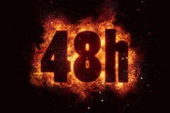 48h icon fire explode text flames hot Stock Photography