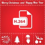 H264 Icon Vector. And bonus symbol for New Year - Santa Claus, Christmas Tree, Firework, Balls on deer antlers stock illustration