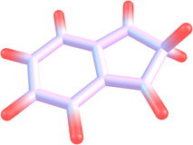 2H-indene molecular structure on white background. 2H-indene (Isoindene) is a flammable polycyclic hydrocarbon with chemical formula C9H8. It is composed of a Stock Images