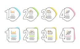 Обслуживание диаграмма, 24h линии и корреспонденция почты набор значков Знак лист r иллюстрация штока