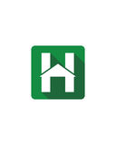 H initial icon button 1 business insurance abstract Stock Photos