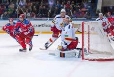 H. Karlsson (1), goaltender of Yokerit team Stock Photo