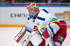 H. Karlsson (1), goaltender of Yokerit team Royalty Free Stock Images