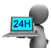 24h Laptop And Character Shows All Day Open On Web. 24h Laptop And Character Showing All Day Open On Web Royalty Free Stock Image