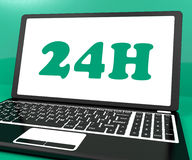 24h On Laptop Shows All Day Service On Web. 24h On Laptop Showing All Day Service On Web Stock Photography