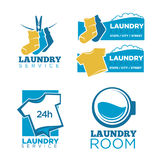 24h laundry room service isolated promotional emblems set. Warm socks on rope with pin, plain T-shirts and round washing machine drum with water isolated Royalty Free Stock Image