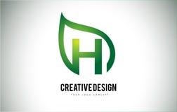 H Leaf Logo Letter Design with Green Leaf Outline Royalty Free Stock Image