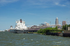 The H. Lee White. CLEVELAND, OHIO AUGUST 7, 2015: The 41 year old Great Lakes bulk carrier H. Lee White offloads it's cargo of taconite pellets to the Cleveland stock images