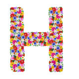 H,  letter of the alphabet in different flowers Royalty Free Stock Images