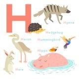 H letter animals set. English alphabet. Vector illustration. On white background Vector Illustration
