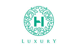 H Letter Logo Luxury.Beauty Cosmetics Logo. H Letter Logo Luxury. Green Beauty Cosmetics Logo Monogram Royalty Free Stock Photography