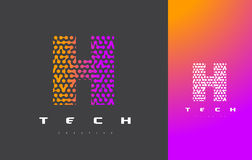H Letter Logo Technology. Connected Dots Letter Design Vector. Royalty Free Stock Image
