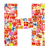 H Letter   made of giftboxes Stock Image