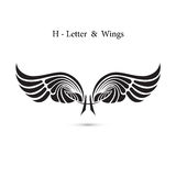 H-letter sign and angel wings.Monogram wing logo mockup.Classic Royalty Free Stock Image