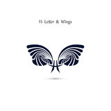 H-letter sign and angel wings.Monogram wing vector logo template Royalty Free Stock Image