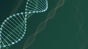H?lice dobro de brilho azul do ADN do sum?rio com profundidade de campo Animação da construção do ADN da rendição dos debrises 3d ilustração stock