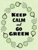 H?ll stillhet och g? den gr?na affischen Koppar av prydnaden för grönt te och kaffe F?r utdragen gullig vykort tecknad filmstil f stock illustrationer