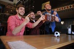 H?llande ?gonen p? fotboll i st?ng Lyckliga v?nner som dricker ?l och hurrar f?r det favorit- laget som firar seger arkivbild