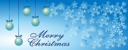H?lsningkort f?r glad jul, sn?flingor, tre bl?a dekorativa bollar p? bl? bakgrund f?r vinter Jultidtextur stock illustrationer