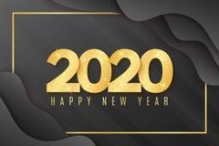 2020 h?lsningkort f?r lyckligt nytt ?r Guld- konfettier Vätskedesign med abstrakta svarta former Briljanten blänker på ett ljus royaltyfri illustrationer