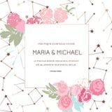 H?lsningkortet med rosor, kan anv?ndas som inbjudankortet f?r att gifta sig, f?delsedagen och annan ferie och sommarbakgrund vekt royaltyfri illustrationer