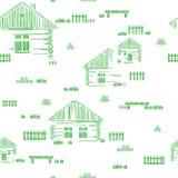 H?lzerne H?user an der K?ste, Panhandle, Florida, US Dorfstra?e Stilisierte Vektorhandzeichnung Nahtloses Muster stock abbildung