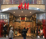 H&M Hennes & Mauritz AB shop and logo Stock Images