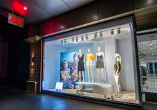 H & M Hennes & Mauritz fashion clothing and accessories retail store, the image shows shopfront at Pitt Street Mall Sydney. royalty free stock photo