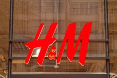 H&M - the logo of fashion company - Prague, Czech Republic Stock Photography