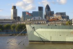 H.m.s Belfast battle ship in river Thames, London, England Stock Photos