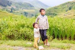 H ` mong 2016年10月16日的少数族裔孩子在Laocai,越南 图库摄影