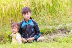 H ` mong 2016年10月16日的少数族裔孩子在Laocai,越南 免版税库存照片