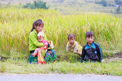H`mong ethnic minority children on October 16, 2016 in Laocai, Vietnam Stock Photos