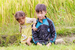 H`mong ethnic minority children on October 16, 2016 in Laocai, Vietnam Royalty Free Stock Images