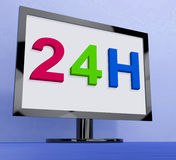 24h On Monitor Shows All Day Service Online. 24h On Monitor Showing All Day Service Online Royalty Free Stock Photos