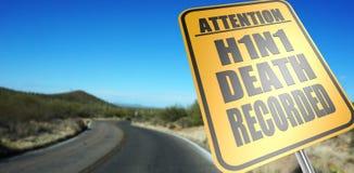 H1N1 śmierć nagrywający drogowy znak fotografia stock