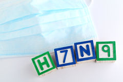 H7N9 alphabet block with protective face mask Royalty Free Stock Image