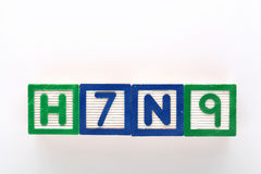 H7N9 alphabet toy block Royalty Free Stock Images
