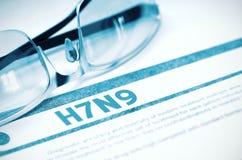 H7N9 - Diagnostic imprimé stéthoscope réglé d'argent de médecine de mensonges de concept illustration 3D Images libres de droits